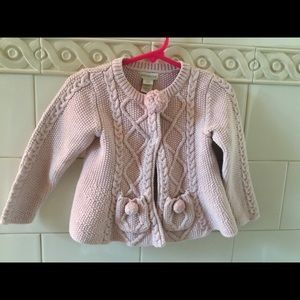 Monsoon Pink Pom Pom Cardigan Sweater 18-24 mos.